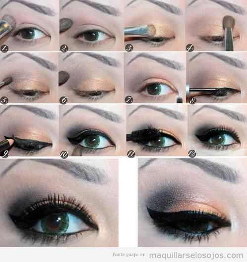 Maquillaje de ojos en bronce y negro paso a paso - Como pintarse los ojos de negro ...