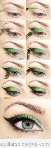 Maquillaje de ojos con sombra verde