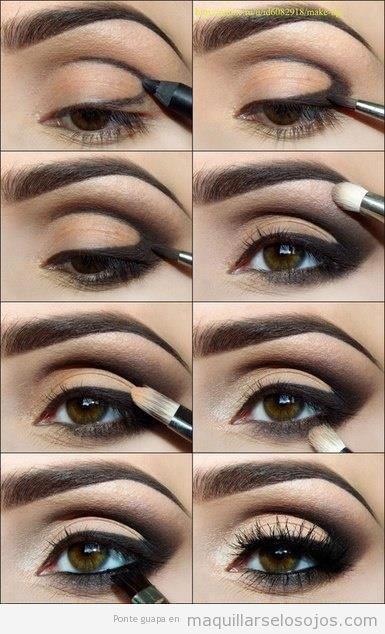 Tutorial maquillarse los ojos paso a paso con sombra negra difuminada