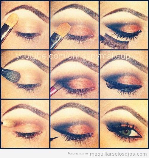 Maquillaje de ojos ahumado en tonos tierra paso a paso for Pintarse los ojos facil