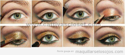 tutorial para aprender a maquillarse los ojos en dorado con perfilador negro