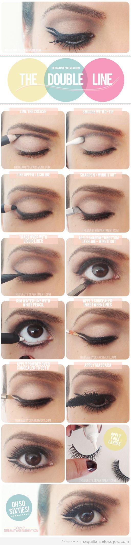 Tutorial con fotos para aprender cómo dibujar una línea doble de ojos con eyeliner