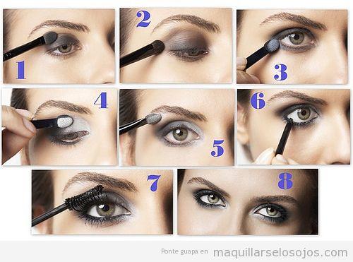 Tutorial paso a paso con fotos para aprender cómo maquillarse ojos ahumados en gris