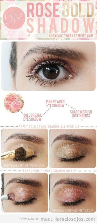 Tutorial paso a paso para maquillarse los ojos en rosa y dorado