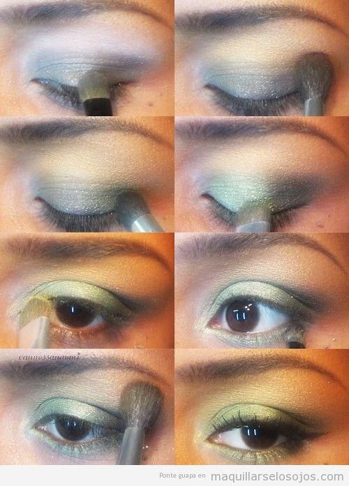 Tutorial para maquillar los ojos con sombras verdes paso a paso