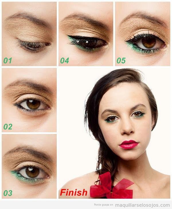 Tutorial paso a paso, maquillaje de ojos eyeliner verde para ojos marrones