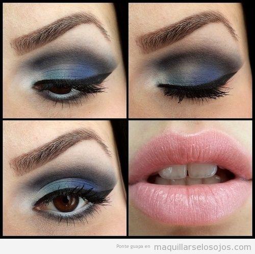 Maquillaje estilo difuminado o ahumado en azul y gris