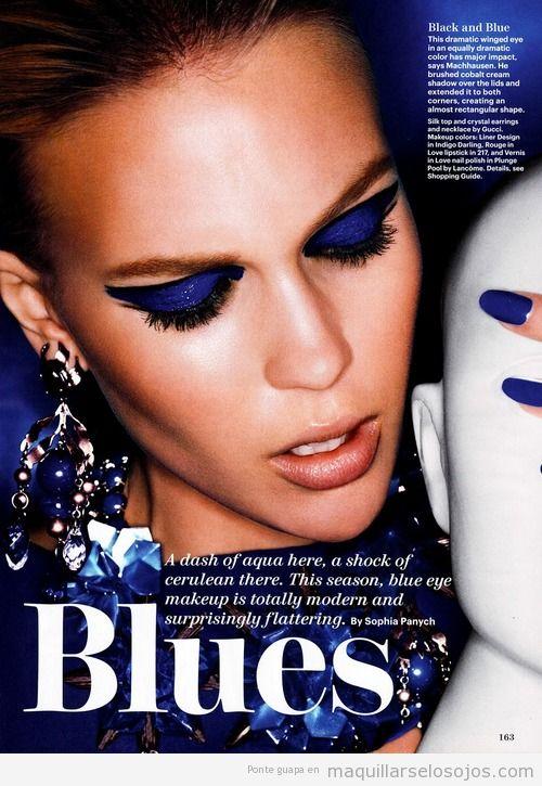 Sombra de ojos azul eléctrico con efecto gloss o pintuea acrílica