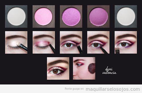 Tutorial paso a paso para aprender maquillaje ojos tonos rosas