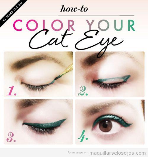 Tutorial paso a paso, eyeline con rabillo en verde, paso a paso
