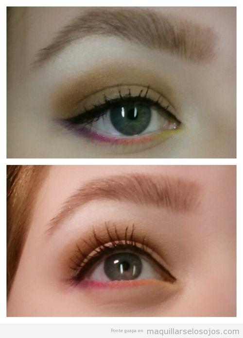 Línea párpado inferior de colores, de amarillo a rosa
