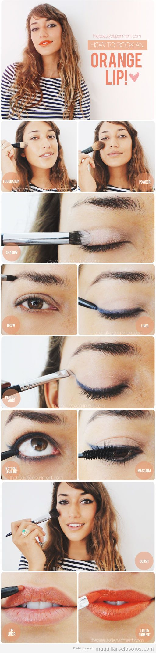 Tutorial maquillaje paso a paso, línea del ojo difuminado y labios naranjas