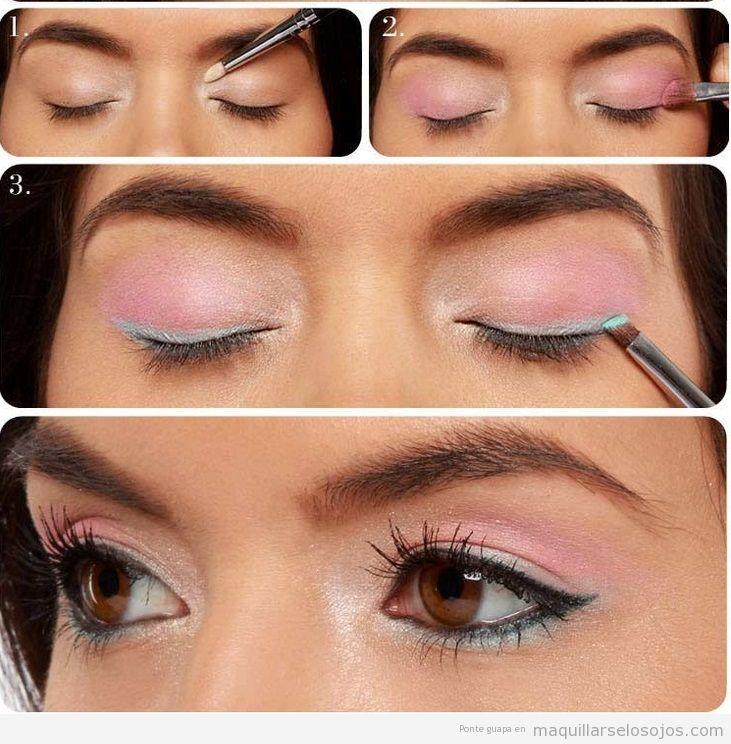 Tutorial maquillaje ojos en tonos rosa y turquesa para verano