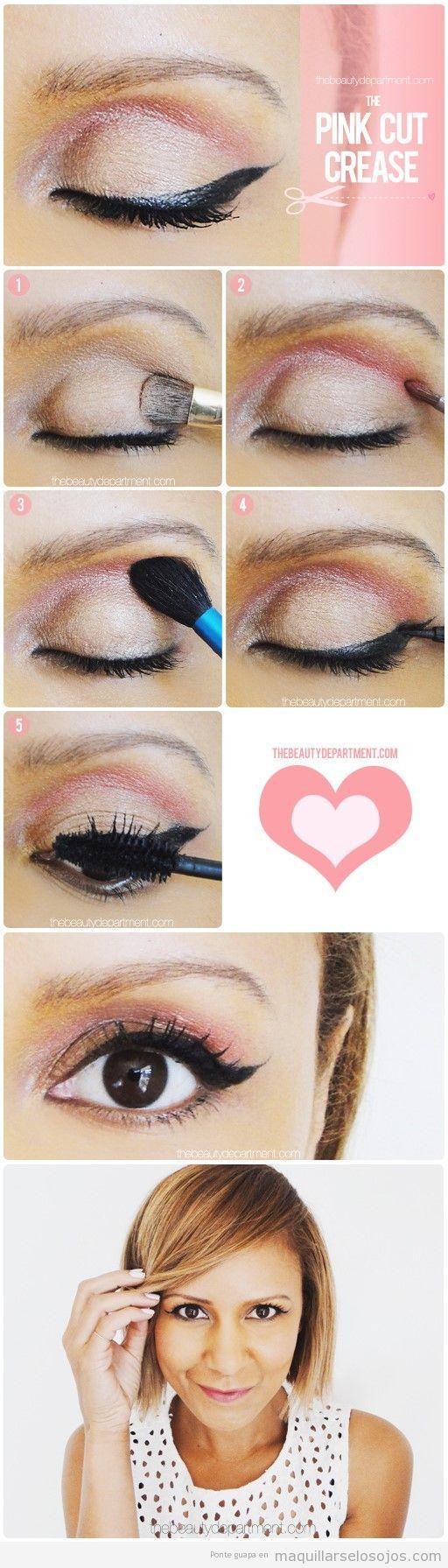Tutorial maquillaje de ojos en crema y rosa, paso a paso