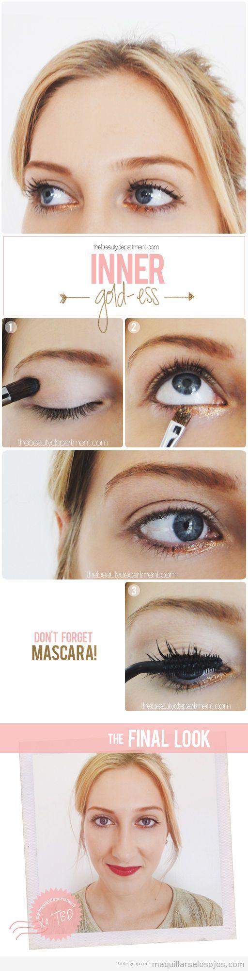 Tutorial maquillaje ojos con párpado inferior dorado