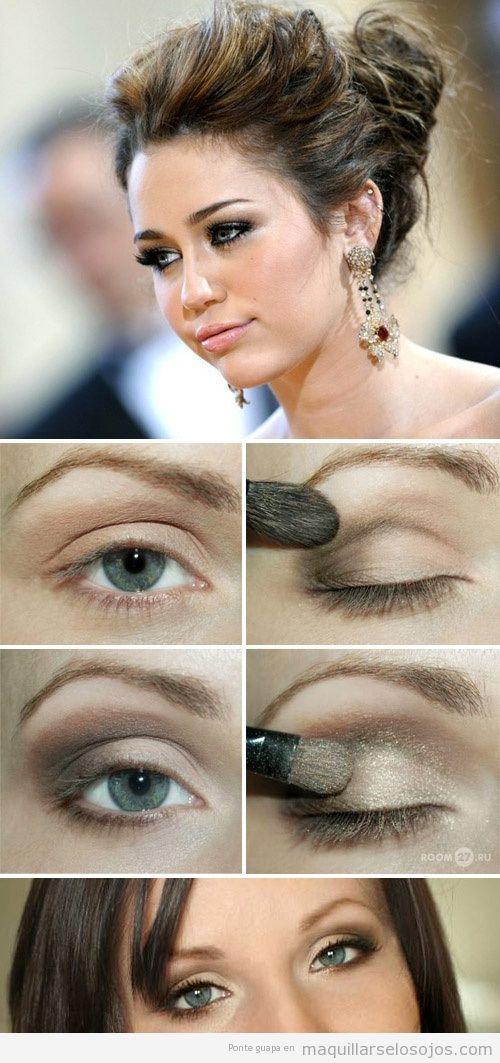 Maquillaje ojos Miley Cyrus en tonos dorados y marrones