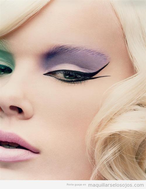 Maquillaje de ojos y labios en tonos pastel con la modelo Dewi Driegen