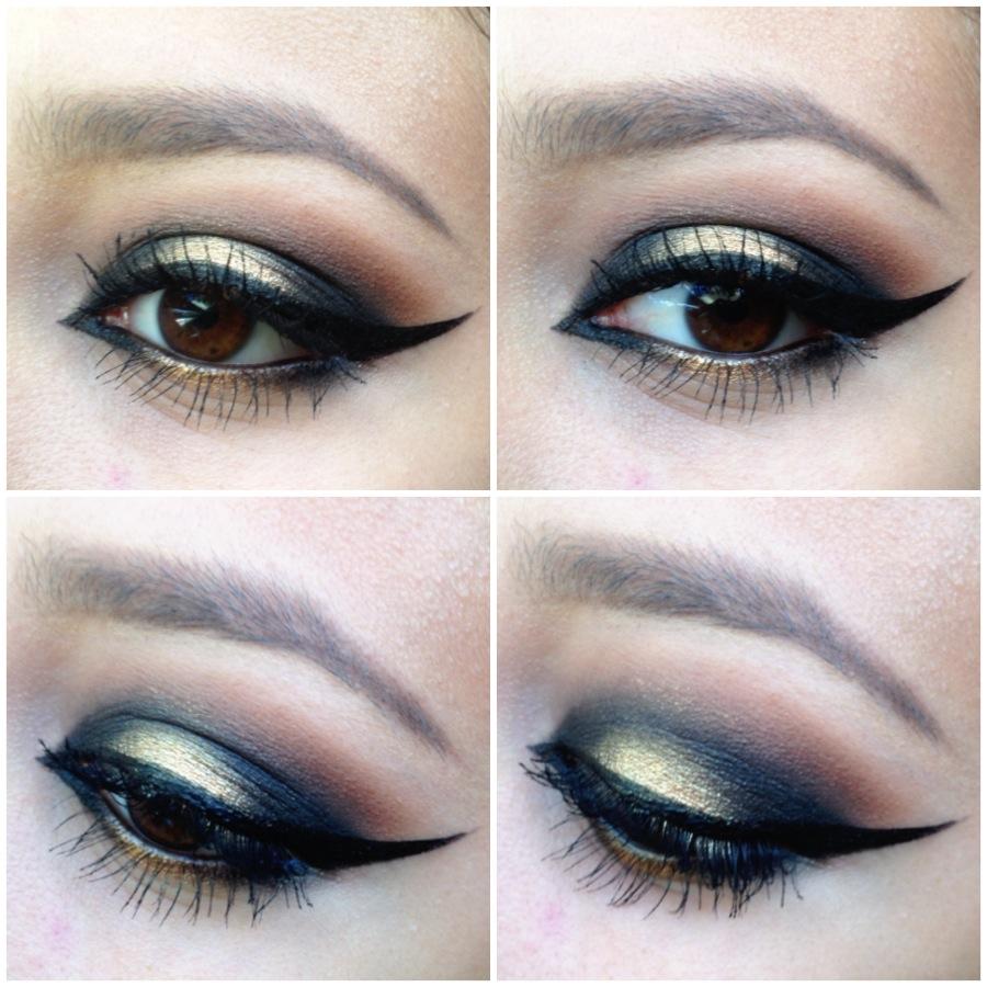 Maquillaje de ojos son sombras doradas y eyeline negro, muy elegante