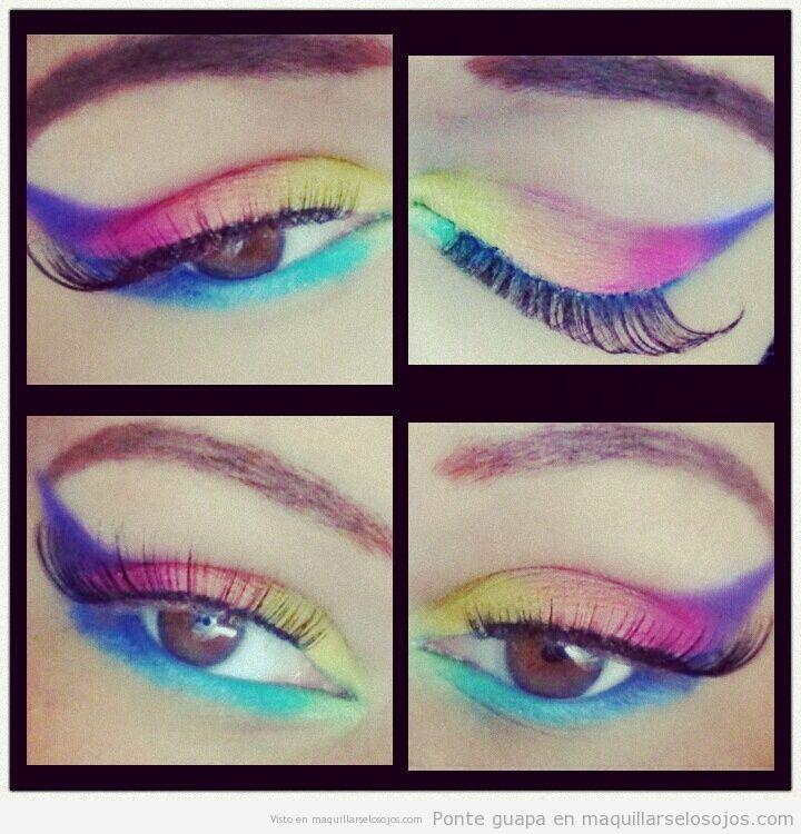 Maquillaje de ojos en fantasía simulando el arcoiris