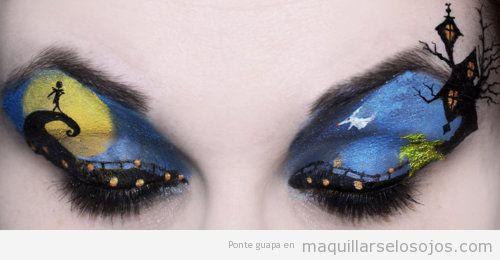 Maquillaje de ojos con dibujo de Pesadilla antes de Navidad de Tim Burton
