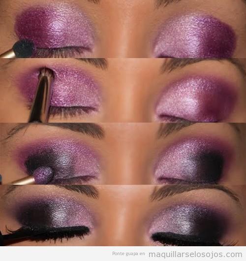Maquillaje de ojos en tonos púrpura paso a paso para pieles oscuras
