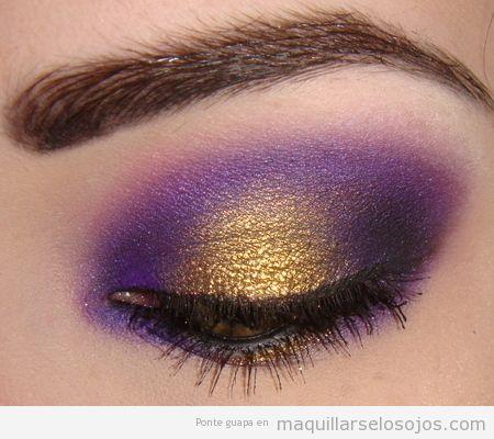 Maquillaje de ojos lila o morado y dorado, Angeles Lakers