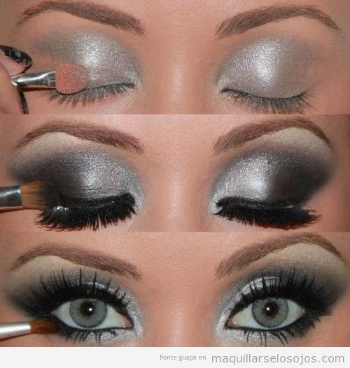 Fotos paso a paso para aprender a maquillarse los ojos en plateado y negro