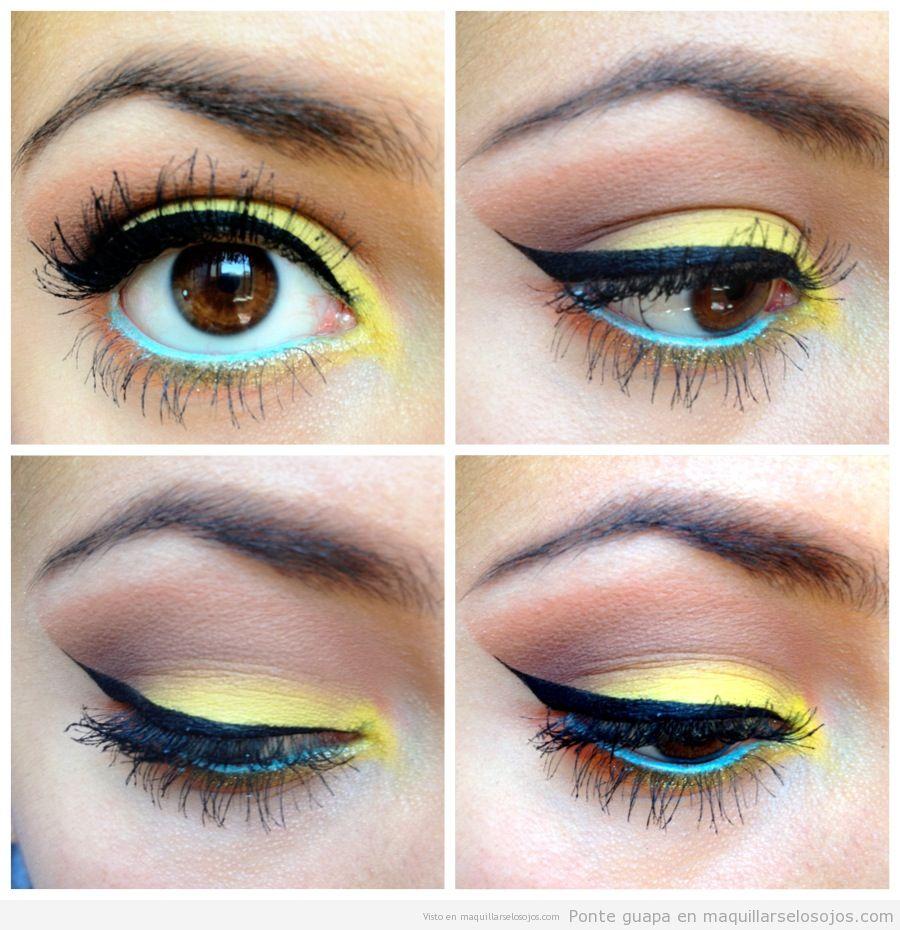 Maquillaje de ojos con la línea del  agua en azul celeste