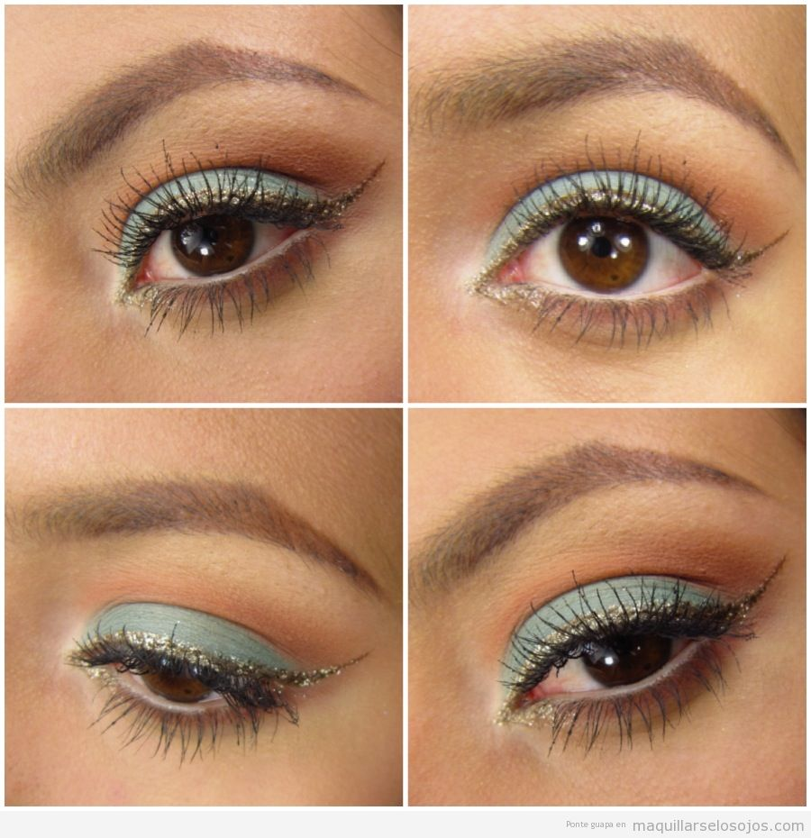 Maquillaje de ojos bonito y original turquesa y dorado