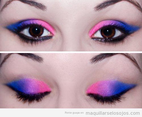 Maquillaje de ojos con rosa neón, lila y azul eléctrico