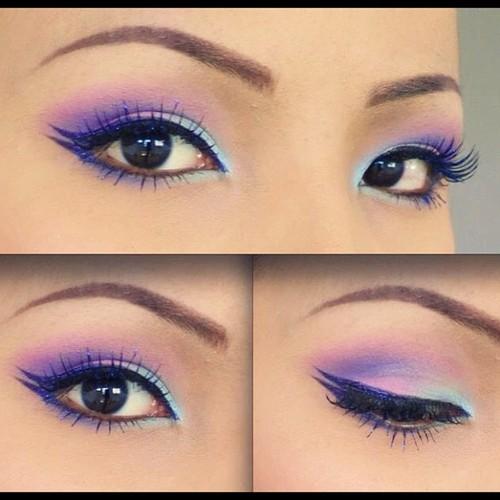Maquillaje para ojos rasgados en azul, rosa y lila