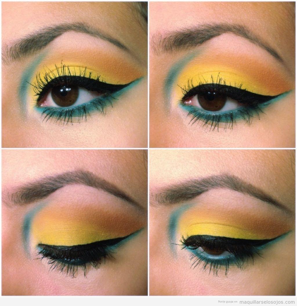 Maquillaje de ojos achinados o rasgados en tonos azules y amarillos