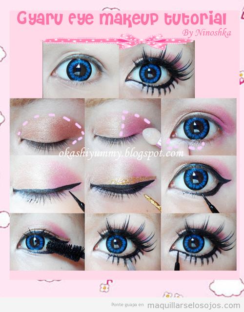 Tutorial pasoa  paso para pintarse los ojos estilo Gyaru japonés