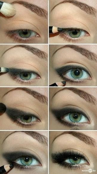 Maquillaje de ojos ahumados y oscuro para ojos verdes, tutorial paso a paso