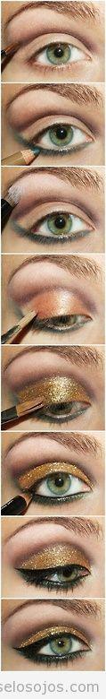 Tutorial paso a paso para saber cómo maquillar los ojos en dorado