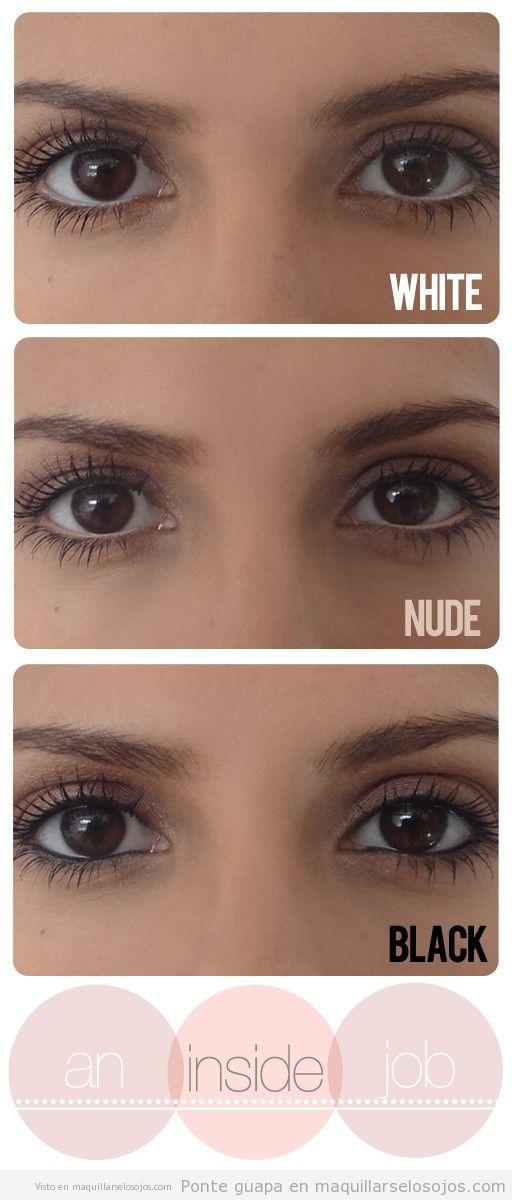 Maquillaje de ojos con waterline o línea del agua en blanco, nude o negro