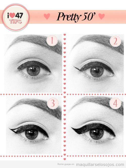 Tutorial con fotos paso a paso para aprender cómo dibujar la línea del ojo estilo años 59
