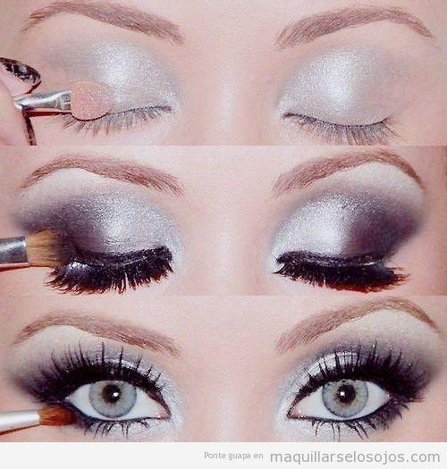Tutorial para aprender a maquillarse los ojos paso a paso de color plateado y negro