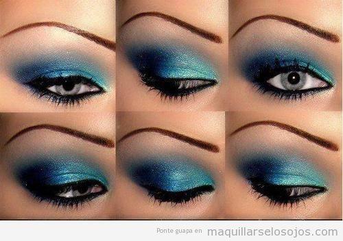 Maquillaje en tonos azul brillante