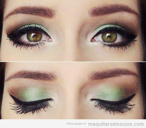 Maquillaje de ojos en tonos verdes y eyeline negro