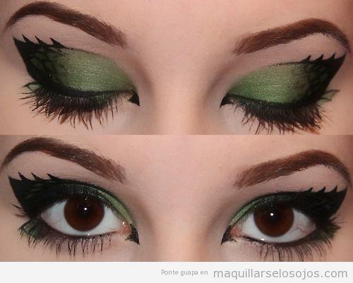 Maquillaje de ojos marrones en tonos verdes, inspirado en dragón