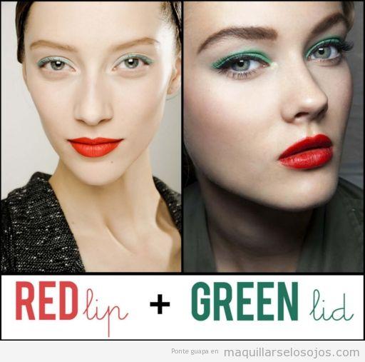 Maquillaje de ojos con sombra verde y labios rojos