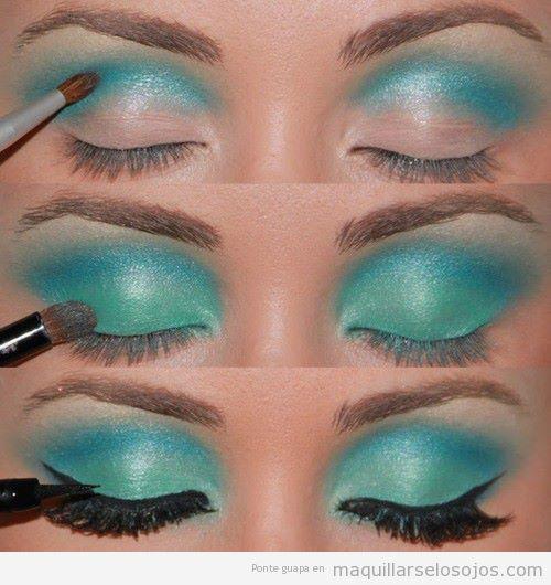 Tutorial para aprender a maquillarse los ojos paso a paso en azul turquesa