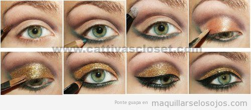 maquillaje con purpurina dorada