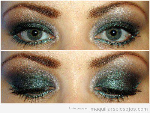 Maquillaje de ojos son sombras de color verde brillante para pieles oscuras