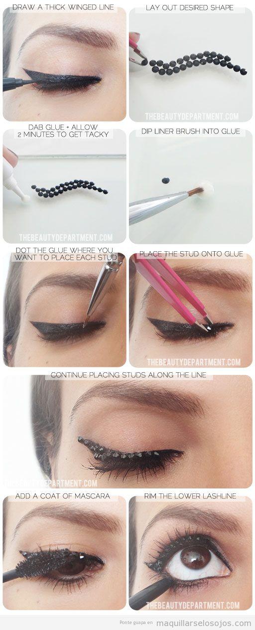 Tutorial de maquillaje de ojos con brillantes negros pegados