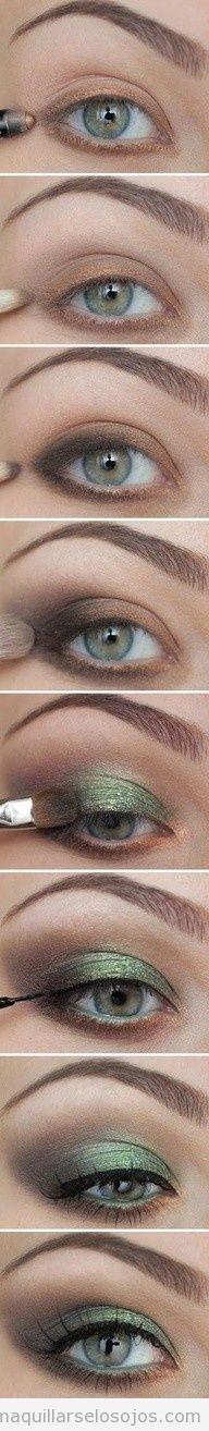 Tutorial paso a paso para maquillar ojos marrones con tonos verdes