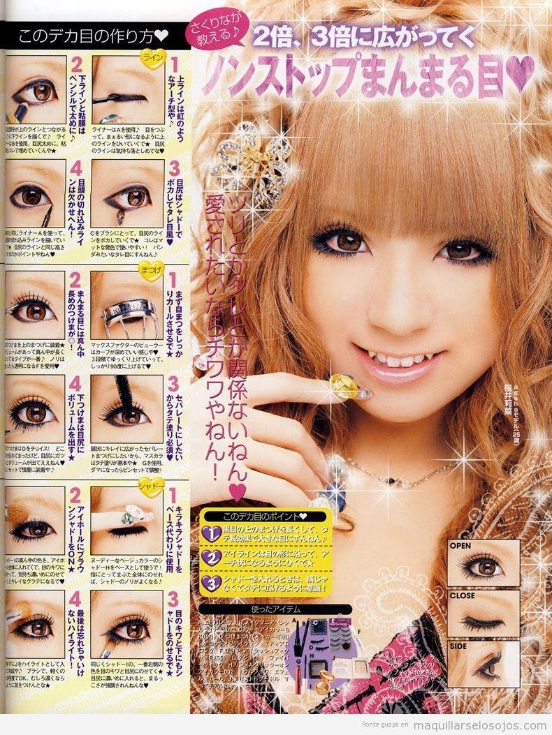 Tutorial paso a paso para aprender maquillar ojos estilo gyaru japonés