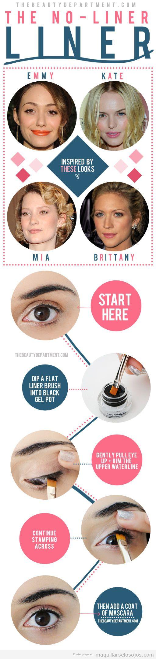 Tutorial con fotos para aprender a pintar la línea del ojo con pincel