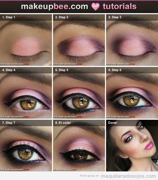 Tutorial paso a paso para pintar ojos tonos rosa